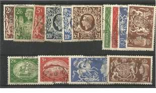 GB Stamps 14 King George VI used Stamps set in Hagner