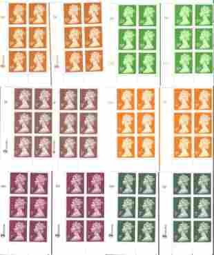GB mint Stamps Elizabeth II, 12 De La Rue Machin Stamps