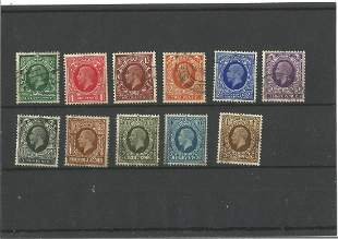 GB Used Stamps 11 George V 1924 Definitives in a Hagner