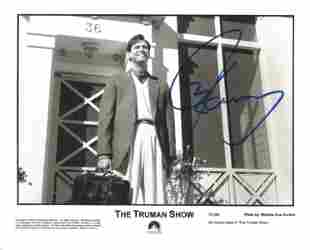Jim Carrey signed 10x8 The Truman Show black and white