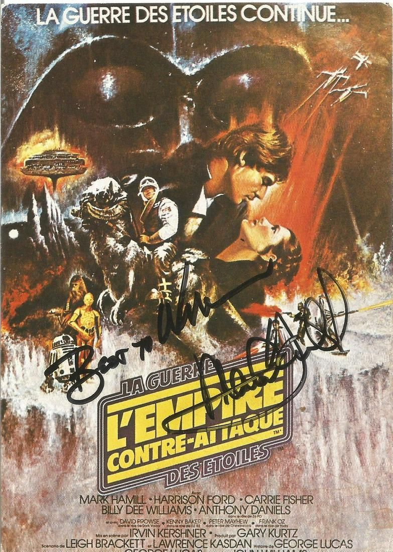Mark Hamill signed 6x4 Star Wars colour French post