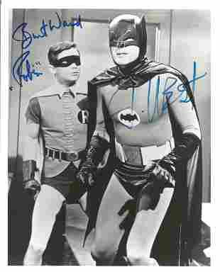 Burt Ward and Adam West signed 10x8 black and white