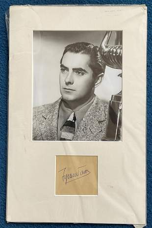 Tyrone Power autograph mounted with 10 x 8 inch photo