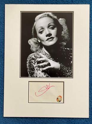 Marline Dietrich autograph mounted with 10 x 8 inch