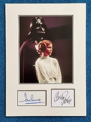Star Wars Carrie Fisher and Dave Prowse autographs