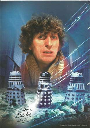 Dr Who Tom Baker signed 12 x 8 inch colour photo,