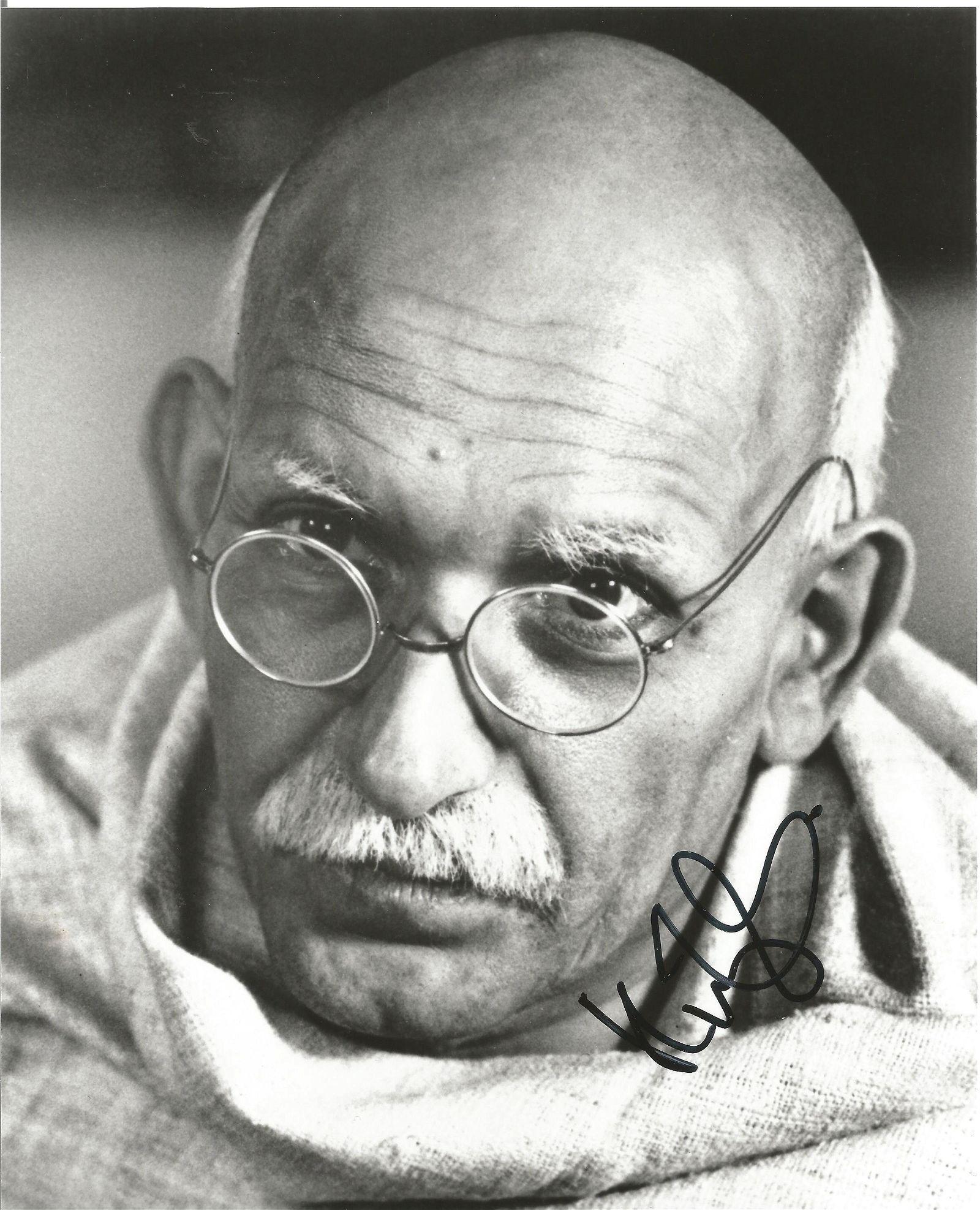 Ben Kingsley as Ghandi signed 10 x 8 inch b/w photo.