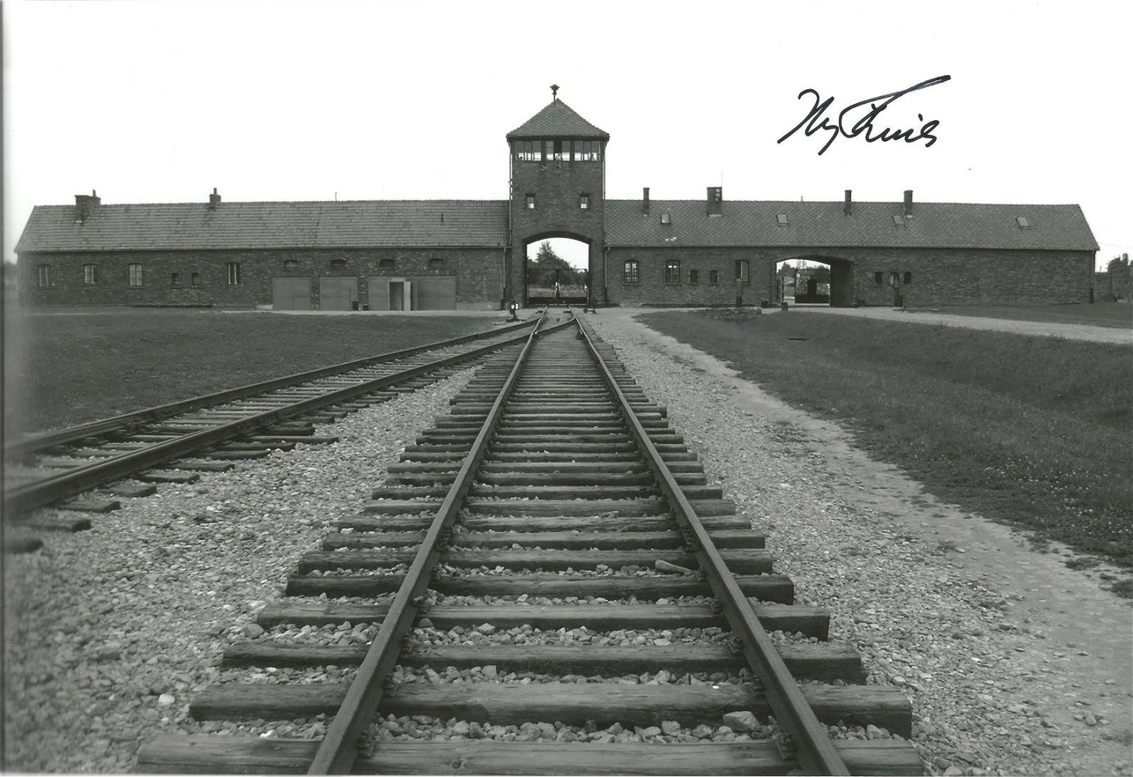WW2 Iby Knill signed Auschwitz 12 x 8 inch b/w photo.