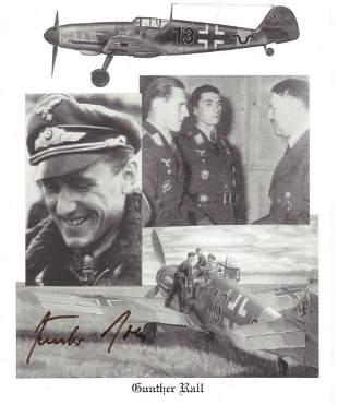WW2 Luftwaffe ace Gunter Rall KC signed 10 x 8 inch b/w