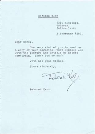 Deborah Kerr TLS Typed signed letter 1987. To Carol