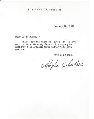 Music Stephen Sondheim TLS Typed signed letter 1994. To