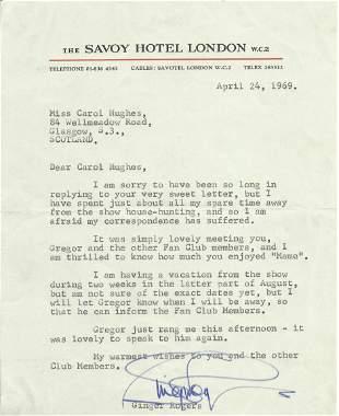 Ginger Rogers TLS Typed signed letter 1969. To Carol