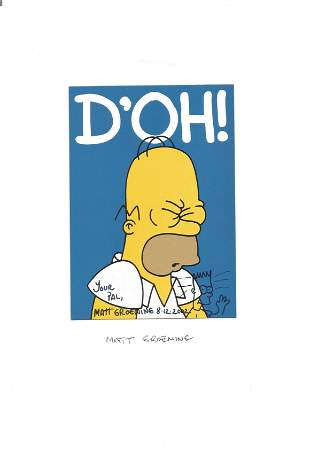 Homer Simpson Matt Groening signed 6 x 4 inch Homer