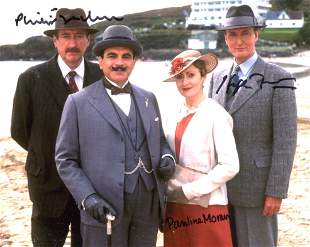 Poirot cast signed, nice 8x10 inch photo signed by Hugh