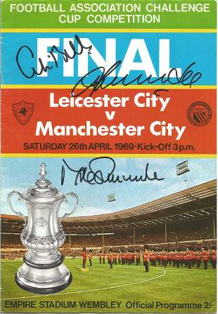 Football Autographed Manchester City 1969 Fa Cup Final