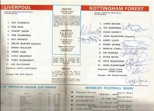 Football Autographed Nottm Forest 1978 League Cup Final