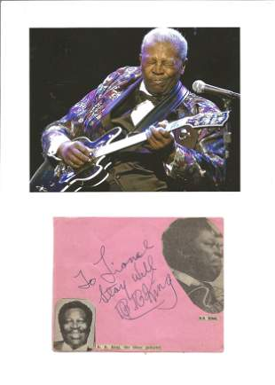 B B King signature piece includes signed album page and