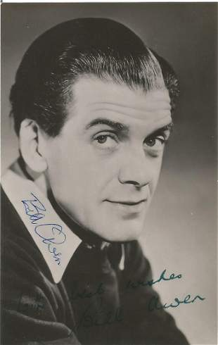 Bill Owen 1914 1999. An early signed 5.5 by 3.5 photo