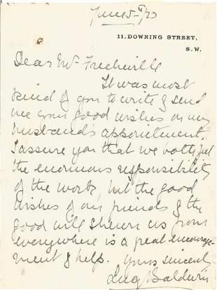 Lucy Baldwin 1867 1945. A handwritten & signed 6 x 4.5