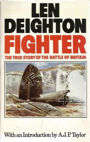 WW2 7 BOB pilots signed book Len Deighton. Fighter, The