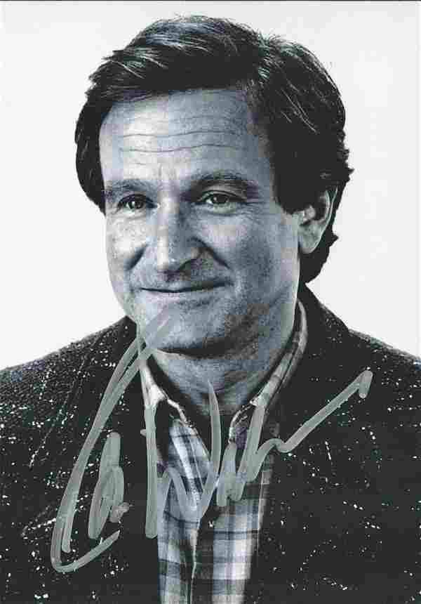 Robin Williams signed 4 x 3-inch small b/w photo.