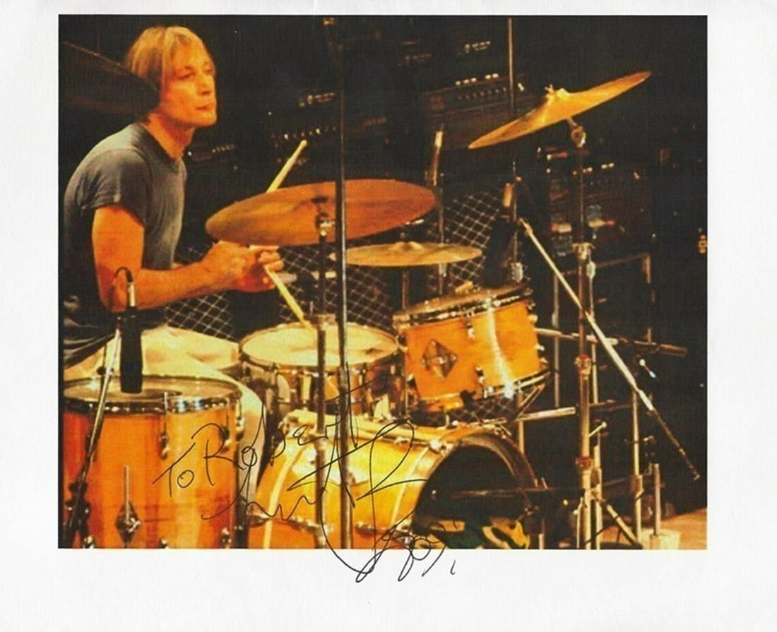 Rolling Stones Charlie Watts signed printed colour