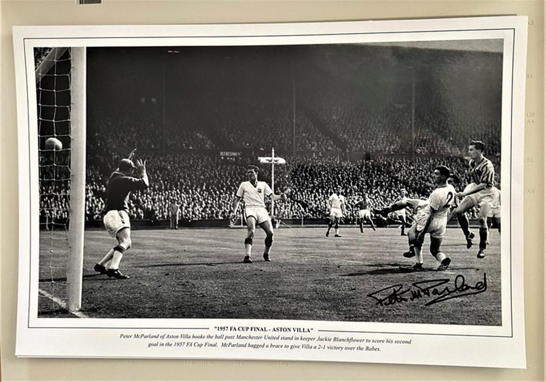 Football, Peter McParland signed 12x18 black and white
