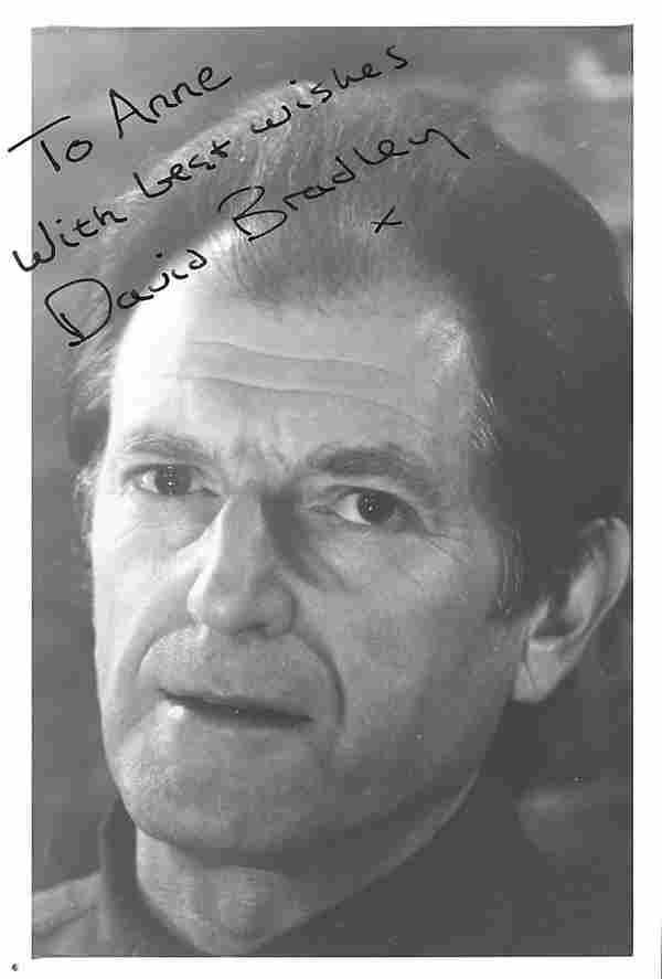 David Bradley signed and dedicated 4x5 photograph.