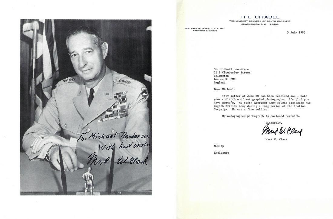 General Mark W Clark Signed 10 x 8 inch black and white