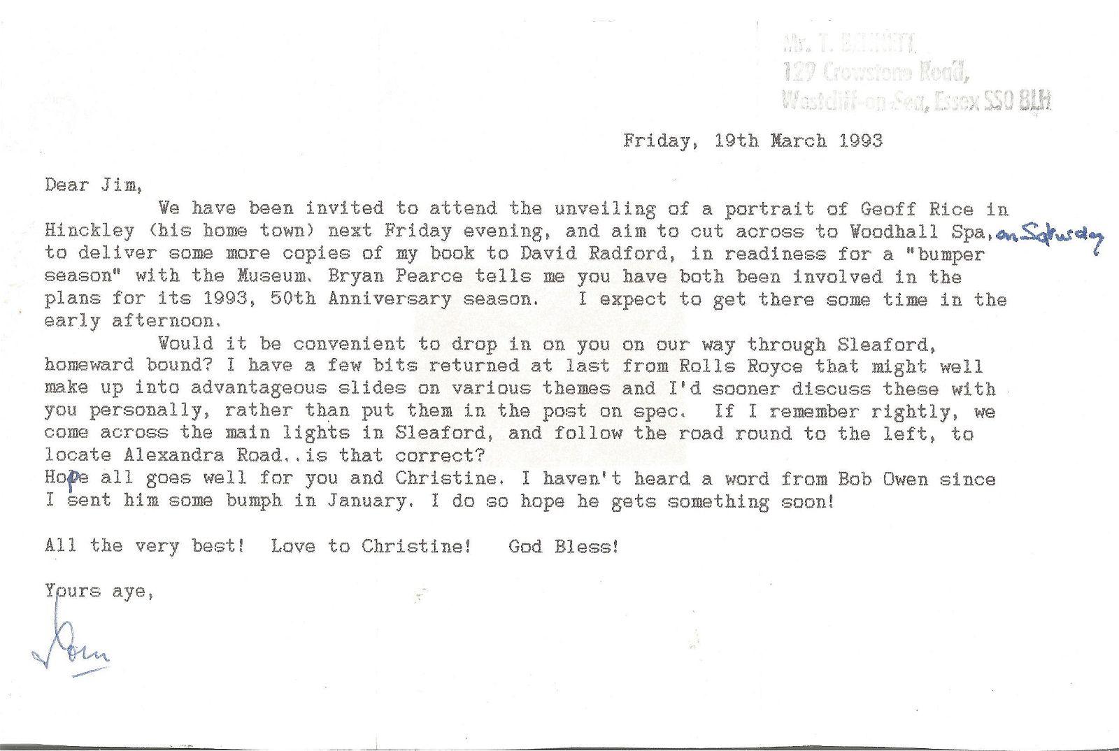 WW2 Tom Bennett 617 sqn Tirpitz signed typed letter.