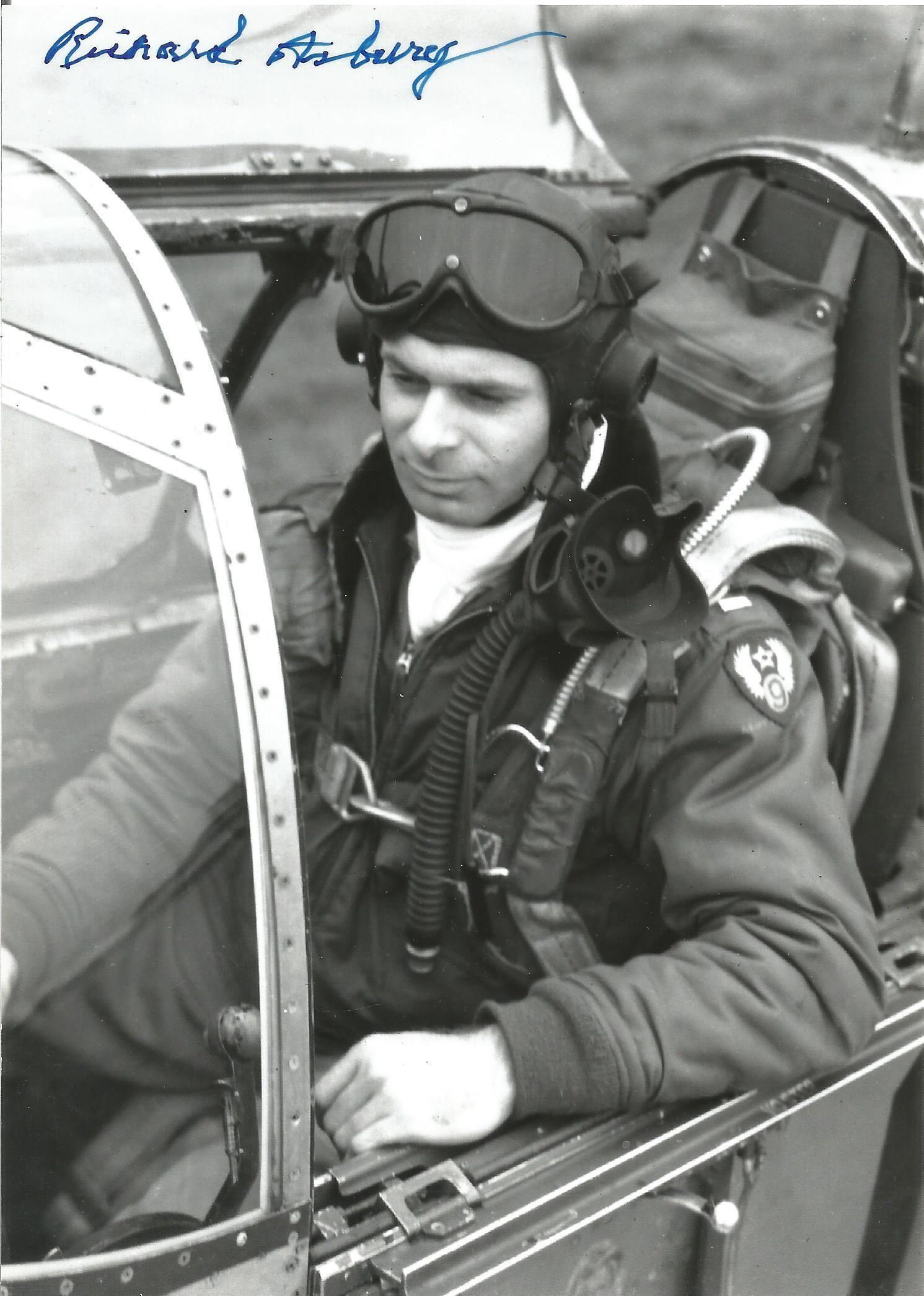 WW2 US fighter ace Richard Asbury signed 7 x 5 inch b/w