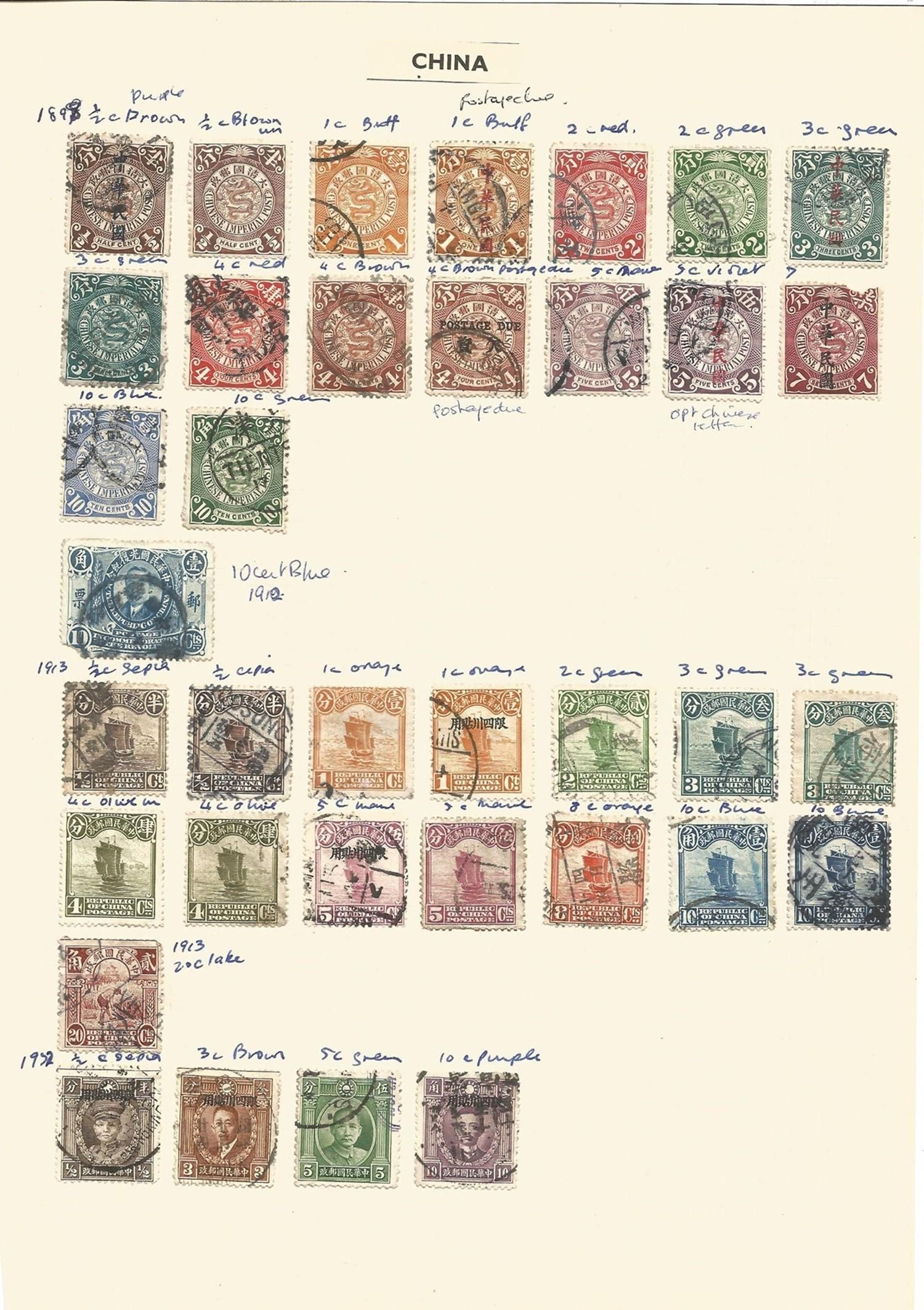 China, 1898/1956, stamps on loose sheets, approx. 30.