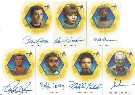 Star Trek 35 signed trading card collection. Seven