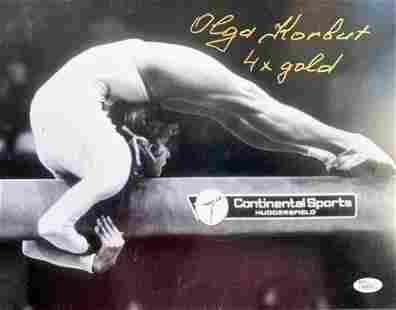 Olympics, Olga Korbut signed and inscribed 12x16 black