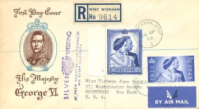 9: 1948 Silver Wedding First Day Cover