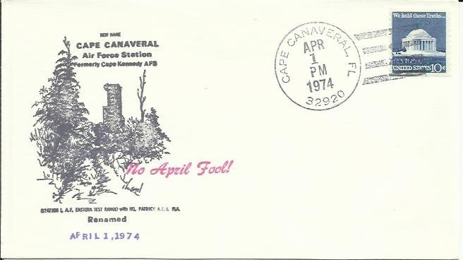 Cape Canaveral renaming cover postmarked 1/4/1974 April