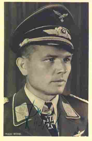 Oberst Gustav Rödel KC OL signed 6 x 4 wartime Hoffman