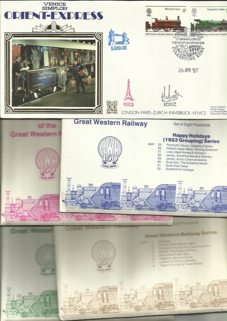 Railway Postcards & FDCs nice little collection of four