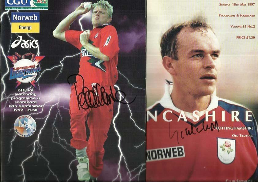 Lancashire Cricket programmes signed by Peter Martin,