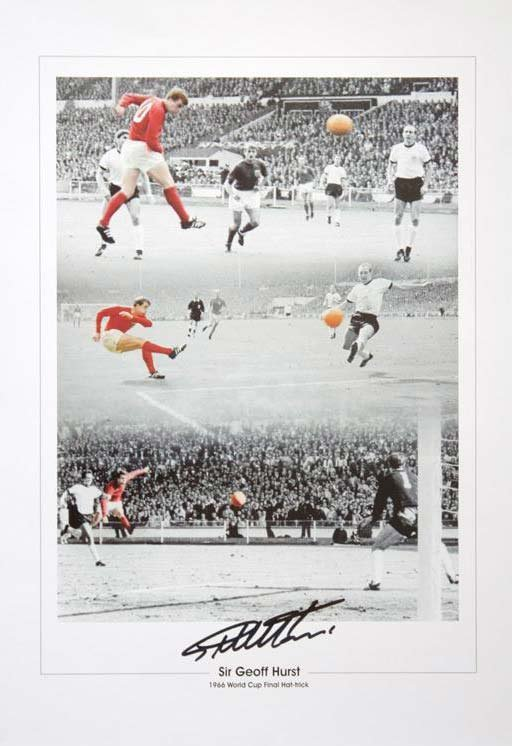 Geoff Hurst & Jimmy Greaves signed 16 x 12 montage