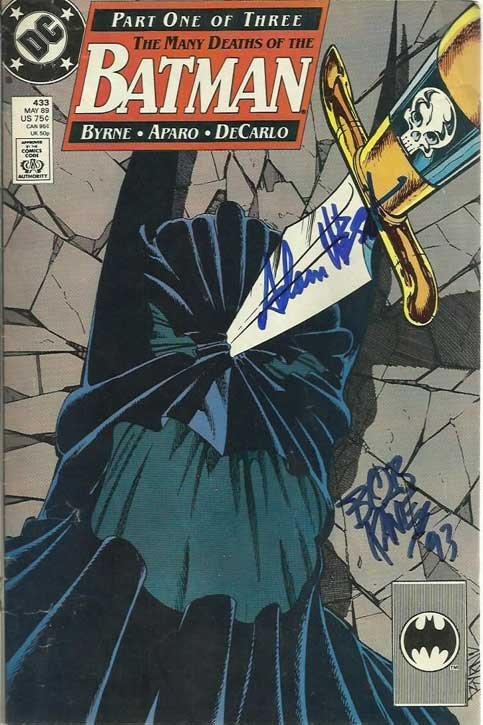 Bob Kane, Adam West signed DC comic The Many Deaths of
