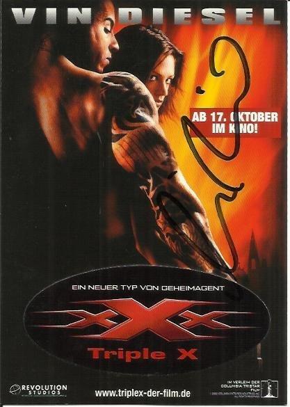 Vin Diesel signed 6 x 4 colour Triple XXX German Film