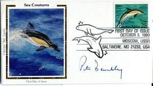 JAWS AUTHOR Sea Creature FDC signed by the late Peter