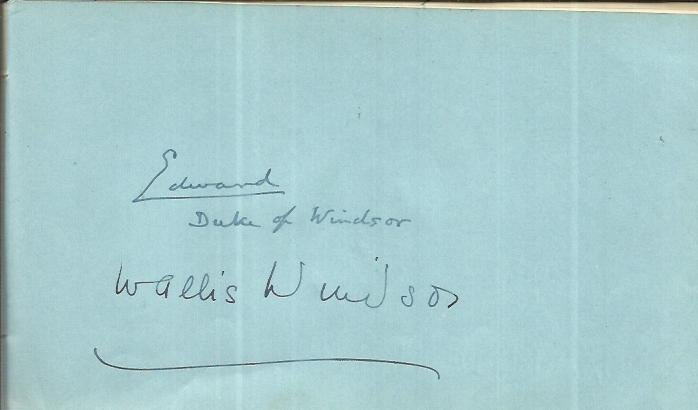 Edward Duke of Windsor & Wallis Windsor signed large