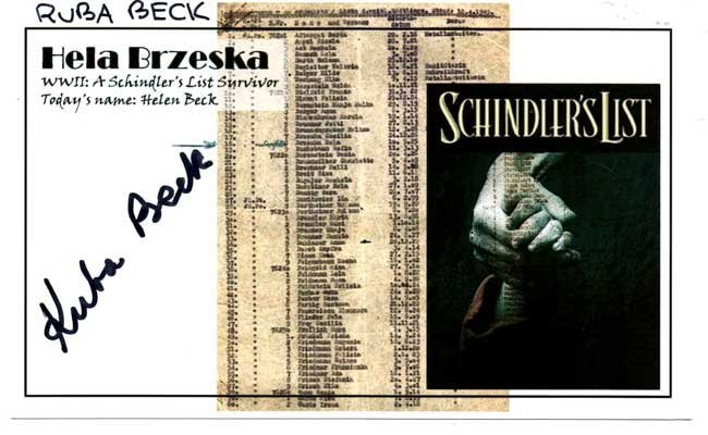 Schindler List Survivor. A 16.5 cm x 10 cm photograph