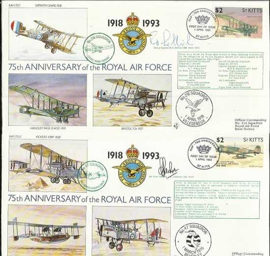 75th Ann RAF flown VIP signed covers in Blue Album.