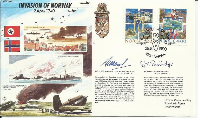 JS/50/40/1c -Invasion of Norway Signed A.C.M. Sir