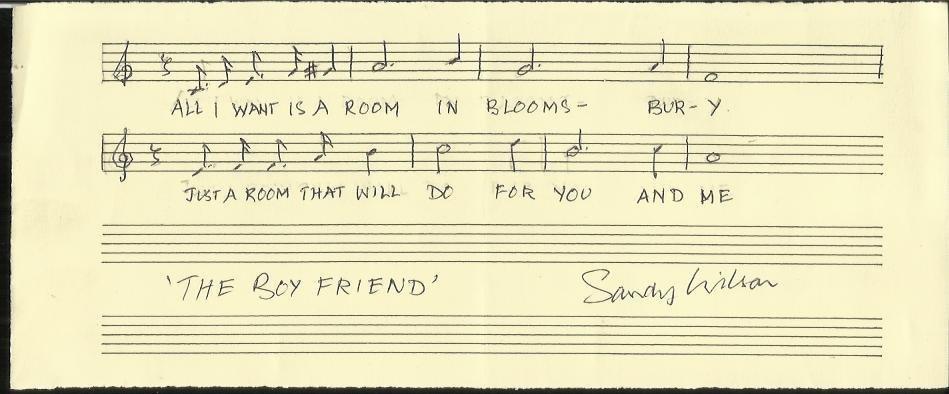 Sandy Wilson signed AMQS music score for The Boyfriend,