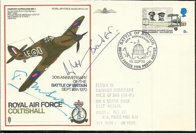 Sir Douglas Bader, Sir Tom Sopwith double Signed RAF