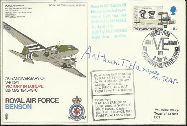 Arthur Harris signed SC32 RAF Benson Dakota cover comm.
